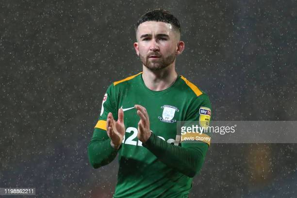 Sean Maguire of Preston North End reacts to the fans following the Sky Bet Championship match between Blackburn Rovers and Preston North End at Ewood...