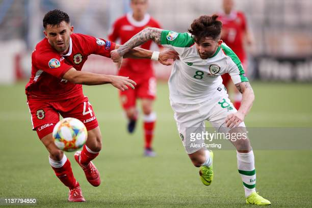 Sean Maguire of Republic of Ireland and Jack Sergeant of Gibraltar battle for the ball during the 2020 UEFA European Championships group D qualifying...