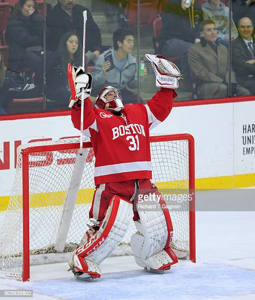 Sean Maguire of the Boston University Terriers celebrates a 6-5 victory against the Harvard Crimson during NCAA hockey at The Bright-Landry Hockey...