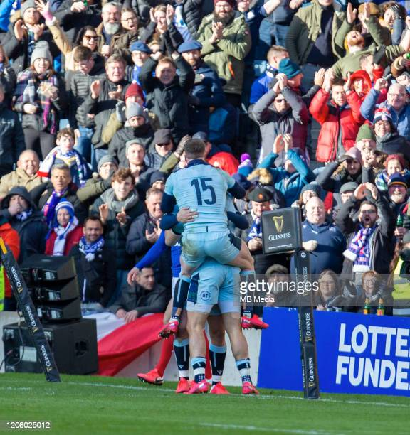 Sean Maitland goes over for a try and celebrates with Stuart Hogg during the 2020 Guinness Six Nations match between Scotland and France at...