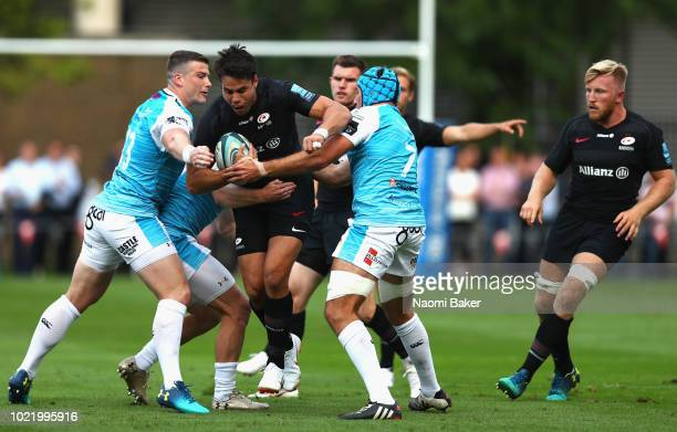 Sean Maitland of saracens runs with the ball during the match between Saracens and Ospreys at Honourable Artillery Company on August 23 2018 in...