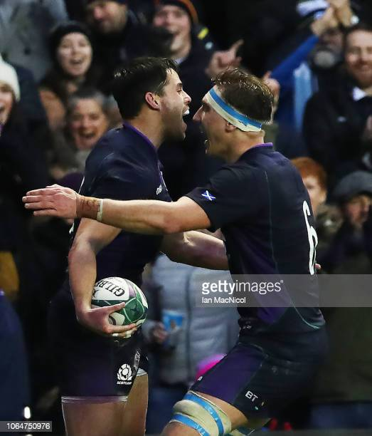 Sean Maitland of Scotland celebrates with Jamie Ritchie after he scores his team's first try during the International Friendly match between Scotland...