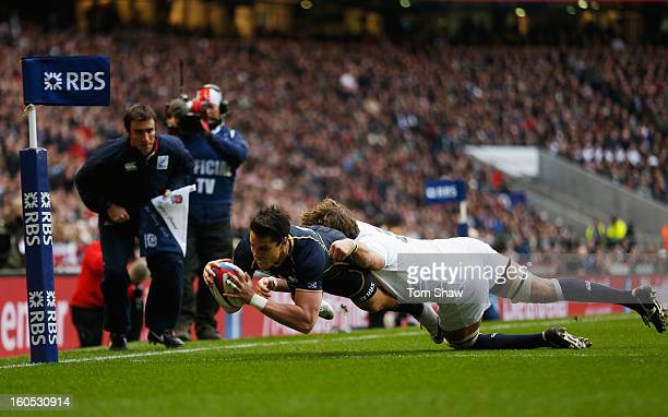 Sean Maitland of Scotland goes over to score the opening try during the RBS Six Nations match between England and Scotland at Twickenham Stadium on...