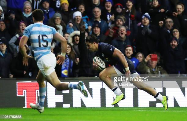 Sean Maitland of Scotland runs through to score his team's first try during the International Friendly match between Scotland and Argentina at...