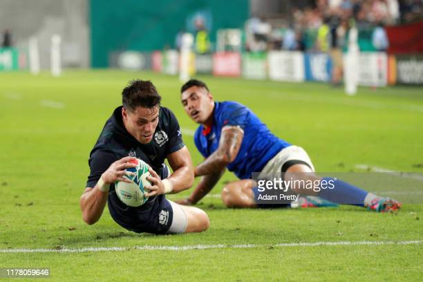 Sean Maitland of Scotland scores his team's first try during the Rugby World Cup 2019 Group A game between Scotland and Samoa at Kobe Misaki Stadium...