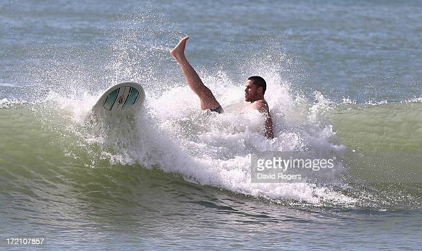 Sean Maitland of the British and Irish Lions falls during surfing on July 2 2013 in Noosa Australia