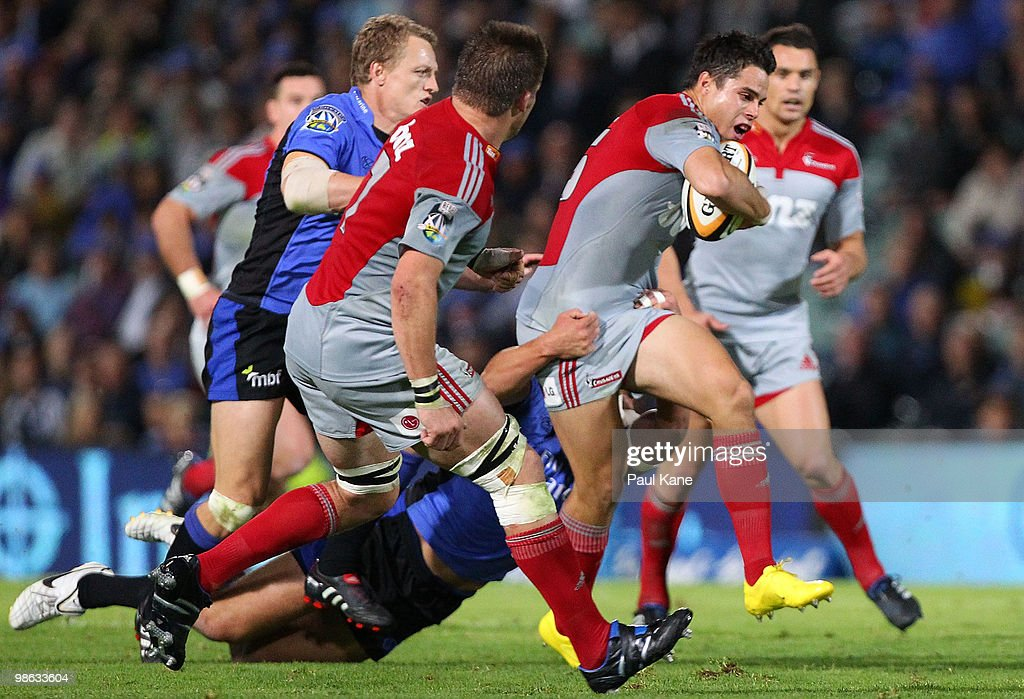 Sean Maitland of the Crusaders attempts to break from a tackle during the round 11 Super 14 match between the Western Force and the Crusaders at ME Bank Stadium on April 23, 2010 in Perth, Australia.