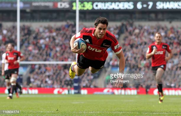 Sean Maitland of the Crusaders scores a try during the round six Super Rugby match between the Crusaders and the Sharks at Twickenham Stadium on...