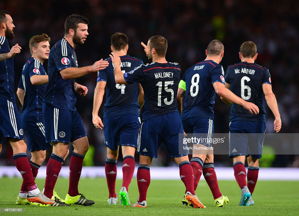 Sean Maloney of Scotland celebrates scoring a goal with his team mate late in the first half during the EURO 2016 Qualifier between Scotland and Germany at Hamden Park on September 7, 2015 in Glasgow, Scotland.