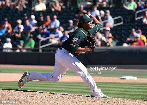 Sean Manaea of the Oakland Athletics delivers a pitch against the Los Angeles Dodgers at HoHoKam Stadium on March 10 2016 in Mesa Arizona