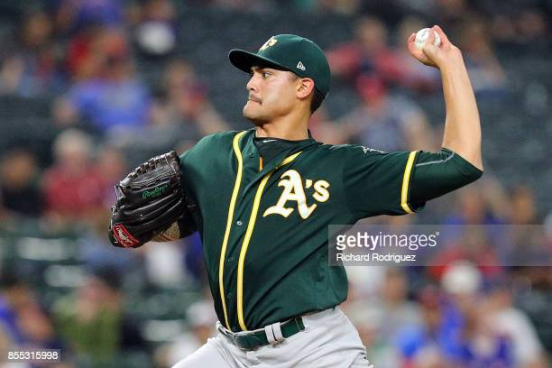 Sean Manaea of the Oakland Athletics delivers a pitch in the second inning against the Texas Rangers at Globe Life Park in Arlington on September 28...