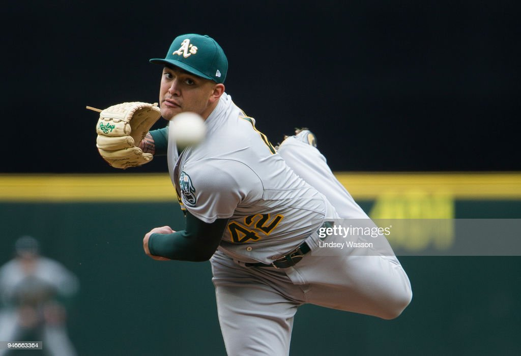 Sean Manaea #55 of the Oakland Athletics delivers against the Seattle Mariners in the second inning at Safeco Field on April 15, 2018 in Seattle, Washington. All players are wearing #42 in honor of Jackie Robinson Day.