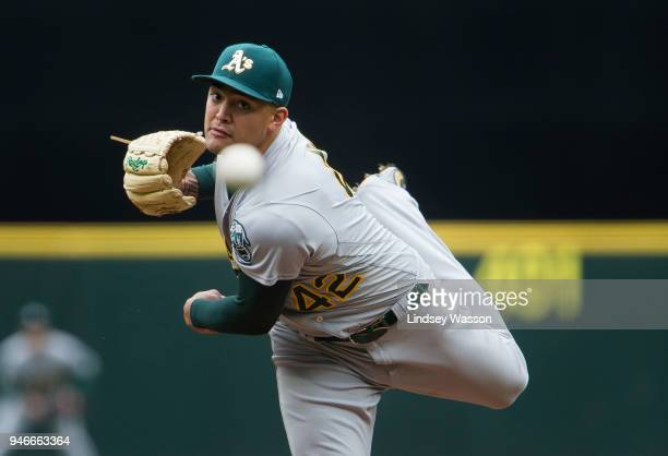 Sean Manaea of the Oakland Athletics delivers against the Seattle Mariners in the second inning at Safeco Field on April 15 2018 in Seattle...