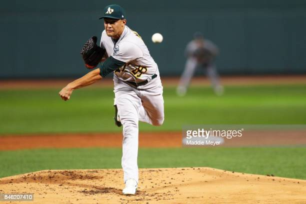 Sean Manaea of the Oakland Athletics pitches against the Boston Red Sox during the first inning at Fenway Park on September 12 2017 in Boston...