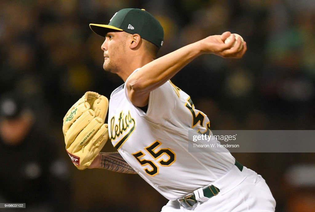 Sean Manaea #55 of the Oakland Athletics pitches against the Boston Red Sox in the top of the ninth inning at the Oakland Alameda Coliseum on April 21, 2018 in Oakland, California. Manaea pitched a no-hitter against Boston defeating them 3-0.