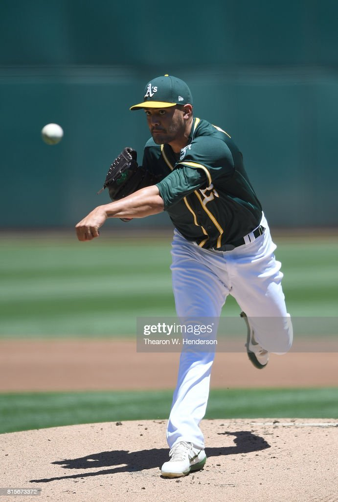 Sean Manaea #55 of the Oakland Athletics pitches against the Cleveland Indians in the top of the first inning at Oakland Alameda Coliseum on July 16, 2017 in Oakland, California.