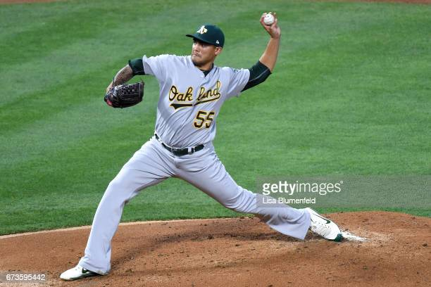 Sean Manaea of the Oakland Athletics pitches against the Los Angeles Angels of Anaheim at Angel Stadium of Anaheim on April 26 2017 in Anaheim...