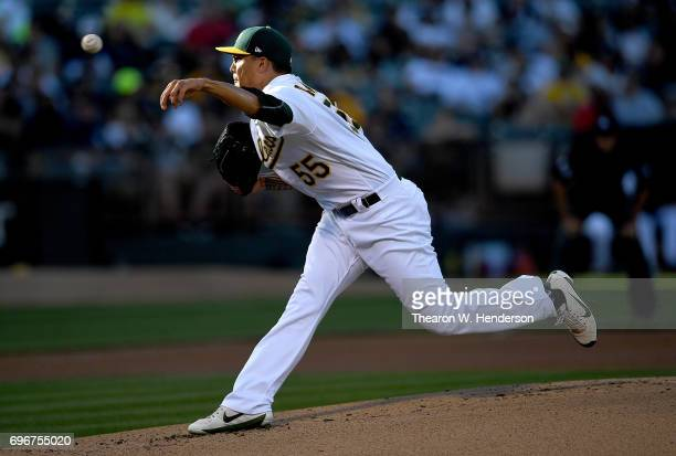 Sean Manaea of the Oakland Athletics pitches against the New York Yankees in the top of the first inning at Oakland Alameda Coliseum on June 16 2017...