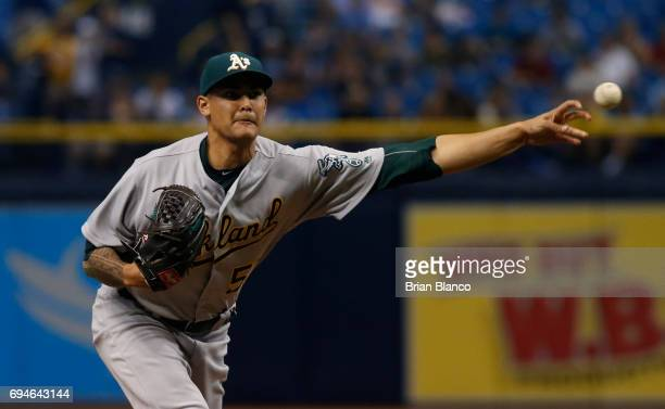 Sean Manaea of the Oakland Athletics pitches during the first inning of game two of a double header against the Tampa Bay Rays on June 10 2017 at...