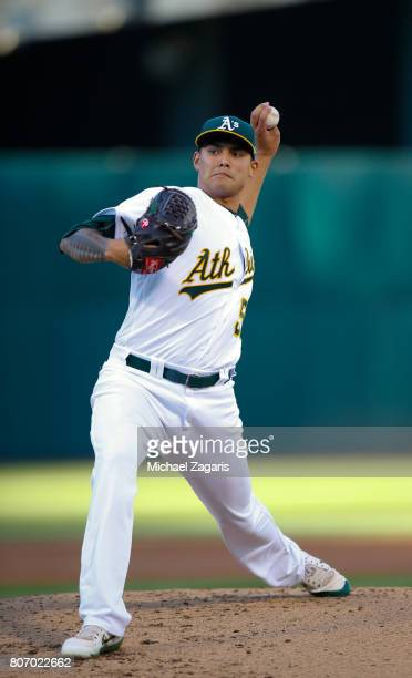Sean Manaea of the Oakland Athletics pitches during the game against the New York Yankees at the Oakland Alameda Coliseum on June 16 2017 in Oakland...