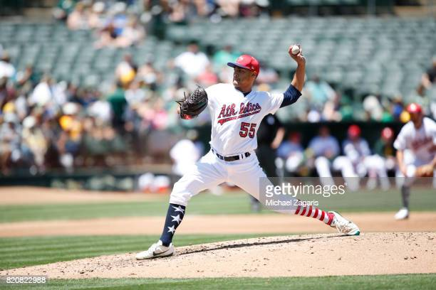 Sean Manaea of the Oakland Athletics pitches during the game against the Atlanta Braves at the Oakland Alameda Coliseum on July 2 2017 in Oakland...
