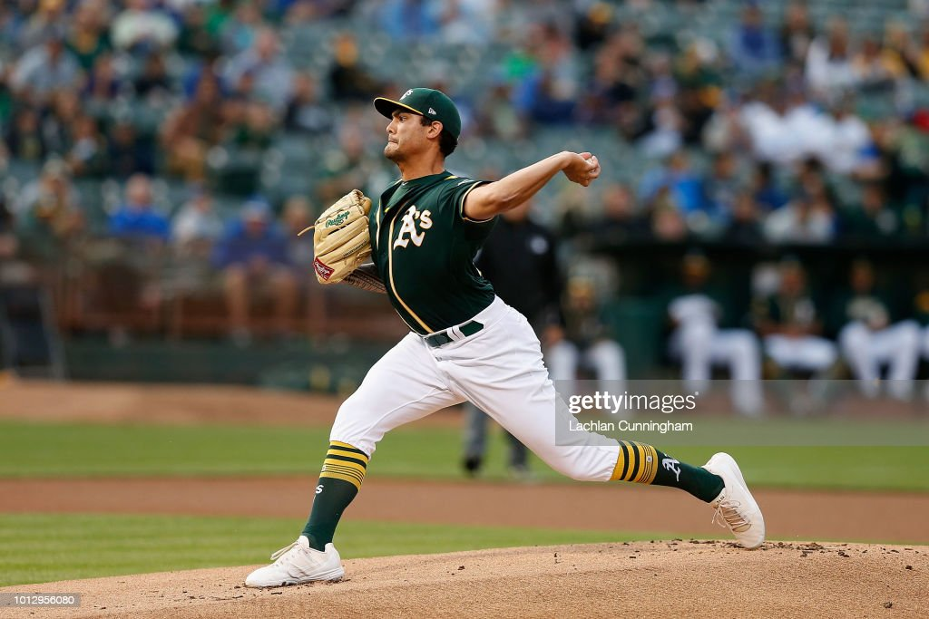 Sean Manaea #55 of the Oakland Athletics pitches in the first inning against the Los Angeles Dodgers at Oakland Alameda Coliseum on August 7, 2018 in Oakland, California.