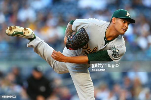 Sean Manaea of the Oakland Athletics pitches in the first inning against the New York Yankees at Yankee Stadium on May 26 2017 in the Bronx borough...
