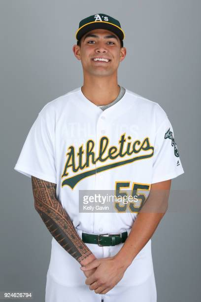 Sean Manaea of the Oakland Athletics poses during Photo Day on Thursday February 22 2018 at Hohokam Stadium in Phoenix Arizona