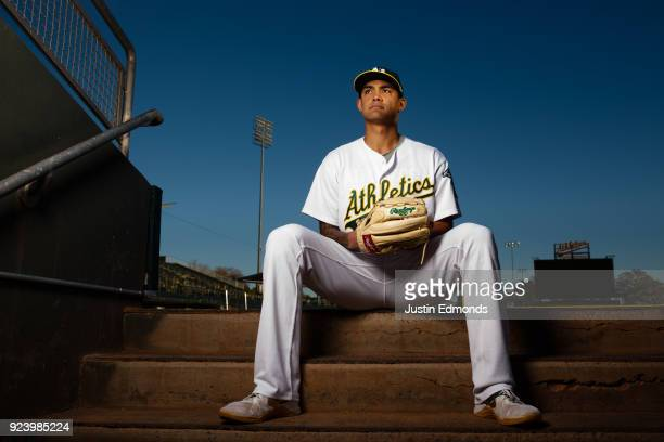 Sean Manaea of the Oakland Athletics poses for a portrait during photo day at HoHoKam Stadium on February 22 2018 in Mesa Arizona