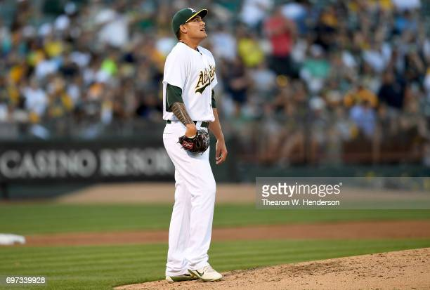 Sean Manaea of the Oakland Athletics reacts after giving up a threerun homer to Aaron Judge of the New York Yankees in the top of the third inning at...