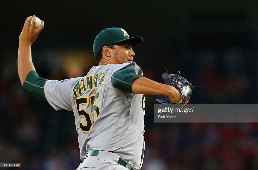Sean Manaea #55 of the Oakland Athletics throws in the first inning against the Texas Rangers at Globe Life Park in Arlington on August 17, 2016 in Arlington, Texas.