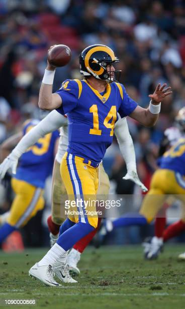 Sean Mannion of the Los Angeles Rams passes during the game against the San Francisco 49ers at the LA Memorial Coliseum on December 30 2018 in Los...