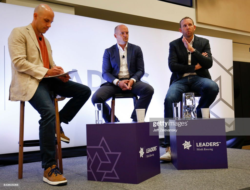 Sean Marks (R), general manager of the Brooklyn Nets is joined by Gregor Townsend, head coach of the Scottish National Rugby team and moderator Steve Gera for a discussion on building organizational talent at the Leaders Sport Performance Summit on August 29, 2017 in New York City.