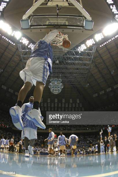 Sean May and Rashad McCants of the University of North Carolina Tar Heels warm up before the University of North Carolina Tar Heels versus Wake...