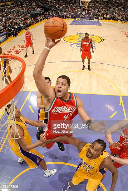 Sean May of the Charlotte Bobcats goes strong to the hoop against the Los Angeles Lakers at Staples Center January 26 2007 in Los Angeles California...