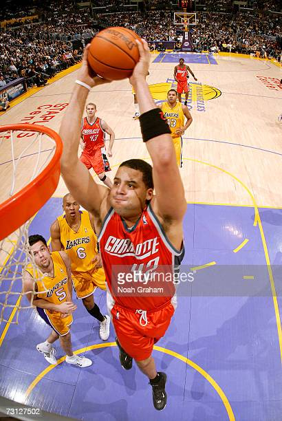 Sean May of the Charlotte Bobcats goes to the hoop against the Los Angeles Lakers on January 26 2007 at Staples Center in Los Angeles California NOTE...