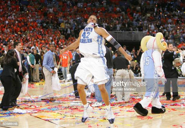 Sean May of the North Carolina Tar Heels celebrates after defeating the Illinois Fighting Illini 75-70 to win the NCAA Men's National Championship...