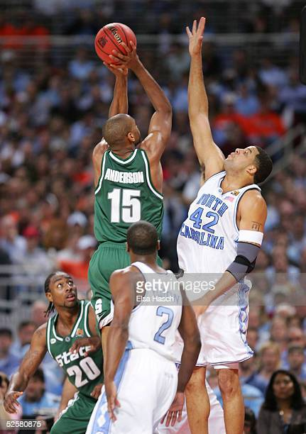 Sean May of the North Carolina Tar Heels defends Alan Anderson of the Michigan State Spartans during the first half of the NCAA Men's Final Four at...