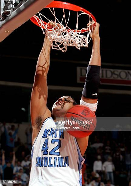 Sean May of the North Carolina Tar Heels dunks against the Iowa State Cyclones during their second round NCAA Tournament game on March 20 2005 at the...