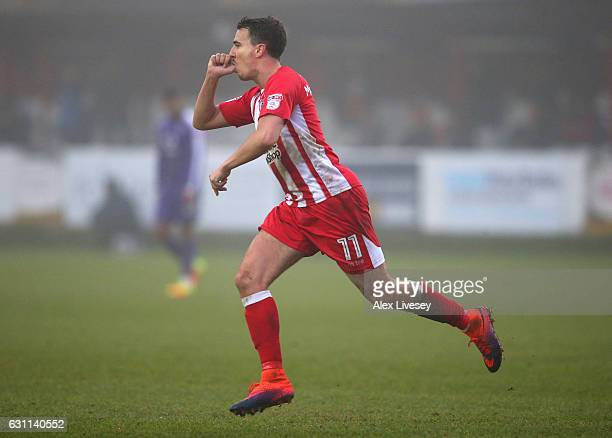 Sean McConville of Accrington Stanley celebrates after scoring the opening goal during the Emirates FA Cup Third Round match between Accrington...