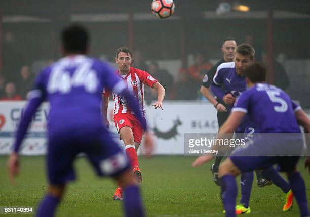 Sean McConville of Accrington Stanley scores the opening goal during the Emirates FA Cup Third Round match between Accrington Stanley and Luton Town...