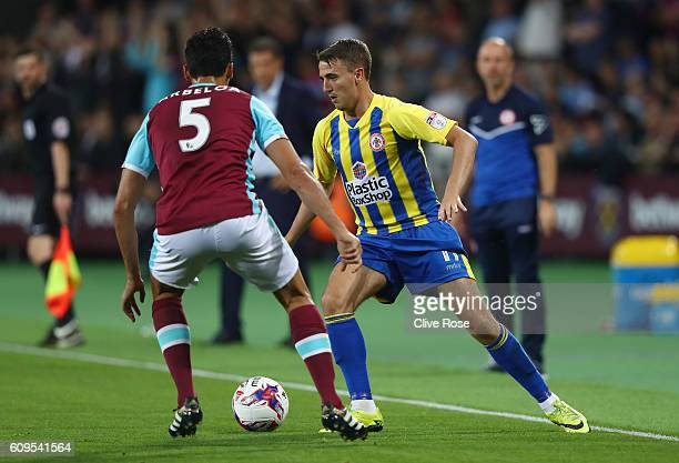 Sean McConville of Accrington Stanley takes on Alvaro Arbeloa of West Ham United during the EFL Cup Third Round match between West Ham United and...