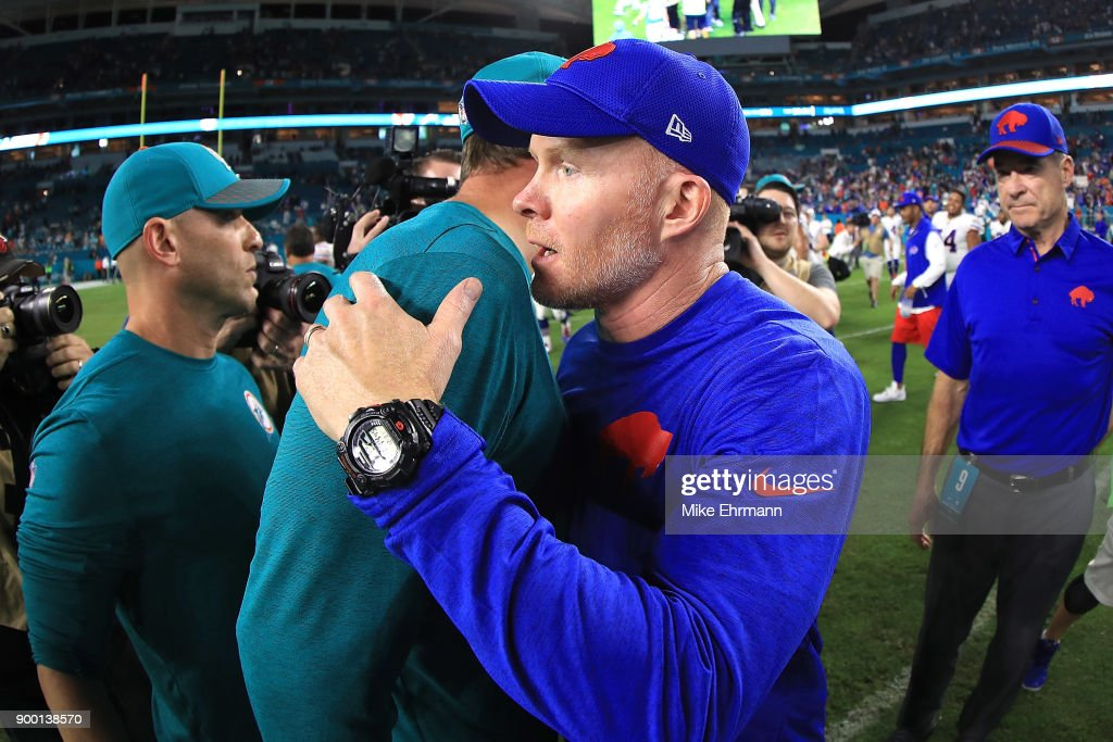 Sean McDermott after the win against the Miami Dolphins at Hard Rock Stadium on December 31, 2017 in Miami Gardens, Florida.
