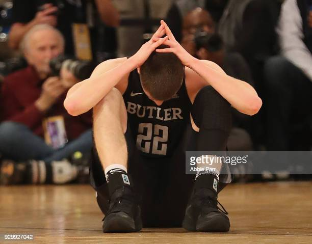 Sean McDermott of the Butler Bulldogs reacts in the first half against the Villanova Wildcats during semifinals of the Big East Basketball Tournament...