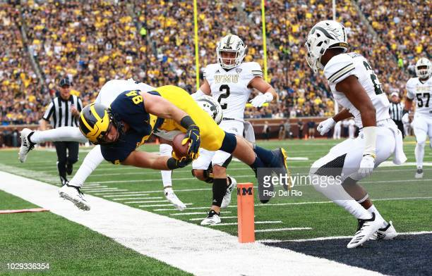 Sean McKeon of the Michigan Wolverines dives into the end zone for a touchdown in the first quarter against the Western Michigan Broncos at Michigan...