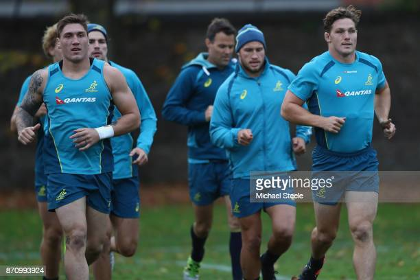 Sean McMahon alongside captain Michael Hooper during the Australia rugby training session at Sport Wales on November 6 2017 in Cardiff Wales