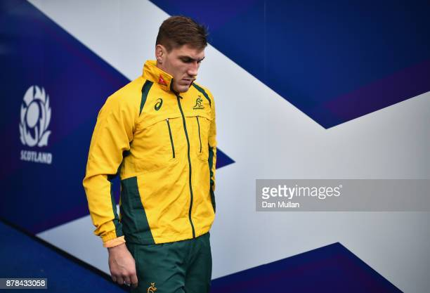 Sean McMahon of Australia makes his way out onto the pitch during the Australia Captain's Run at Murrayfield Stadium on November 24 2017 in Edinburgh...