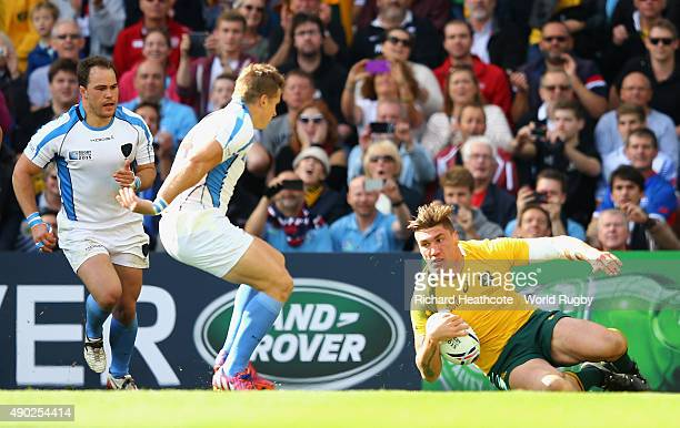 Sean McMahon of Australia scores their first try during the 2015 Rugby World Cup Pool A match between Australia and Uruguay at Villa Park on...