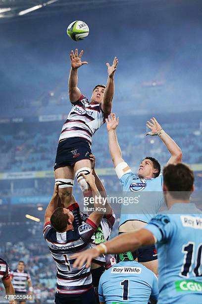 Sean McMahon of the Rebels jumps at the lineout during the round 11 Super Rugby match between the Waratahs and the Rebels at ANZ Stadium on April 25,...