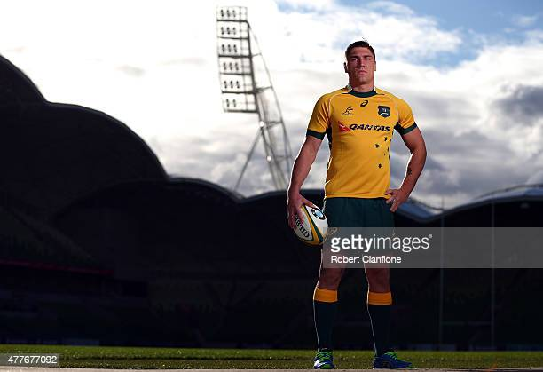Sean McMahon of the Wallabies poses for a portrait after an ARU press conference at AAMI Park on June 19 2015 in Melbourne Australia
